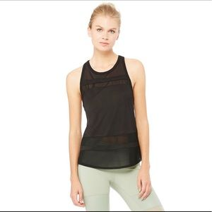 Alo Mesh Black Ella Tank Top Sz Small